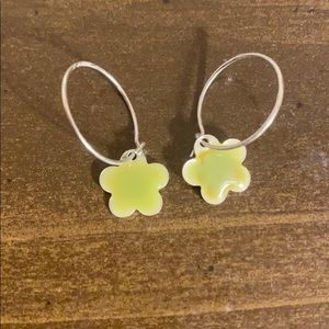 Sterling Silver Kids Small Hoop Flower Earrings